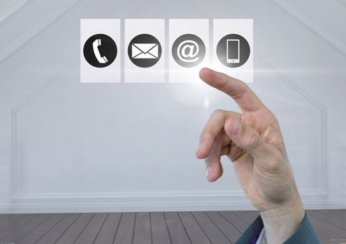 Businessperson touching digitally generated connecting icons