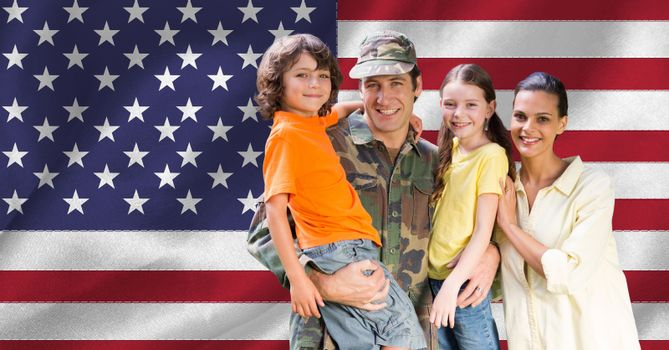 Portrait of happy family with arm around