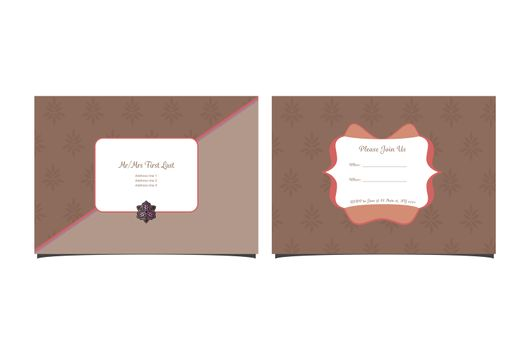 Front and back sides of wedding invitation card