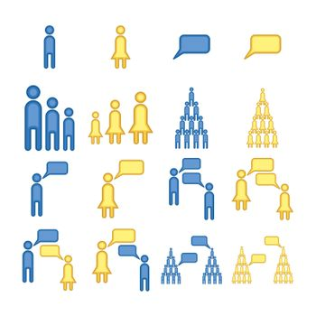 Vector image of human communication against white background