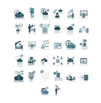 Various business thought process symbols