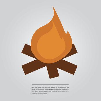 Vector image of lorem ipsum text with bonfire