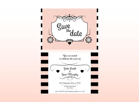 Wedding invitation card with names, date and venue