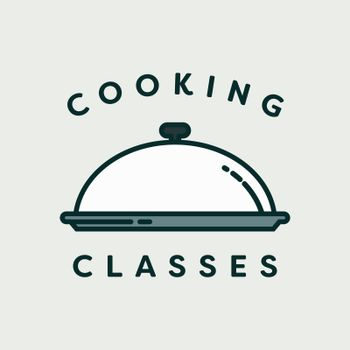 Vector image of lid plate with text cooking classes