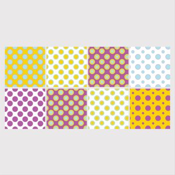 Vector set of colorful dotted patterns