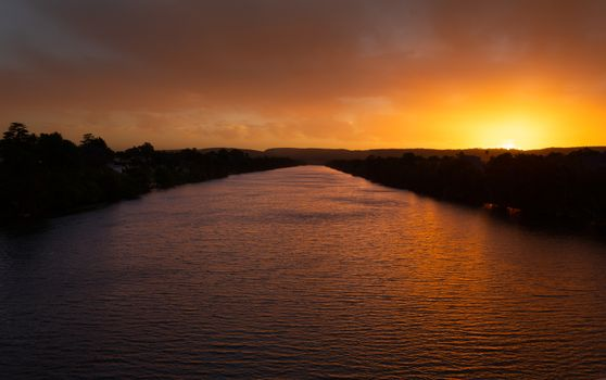 Scenic views of Nepean River Penrith in pretty sunset colours