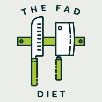Vector image of knives with text the fad diet