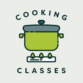 Vector image of pressure cooker with text cooking classes