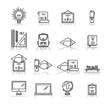 Vector icon set of education against white background
