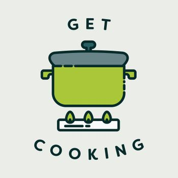Vector image of pressure cooker with text get cooking