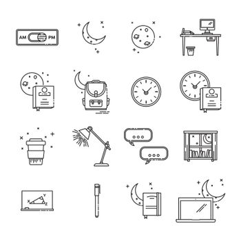 Set of various educational and time conceptual vector icons