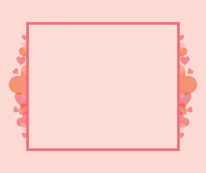 Vector illustration of rectangular frame with heart shapes