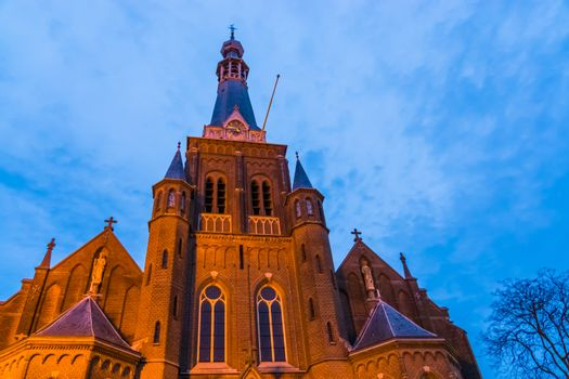 towers of the heikese church, Historical Catholic religious building in Tilburg city, The netherlands