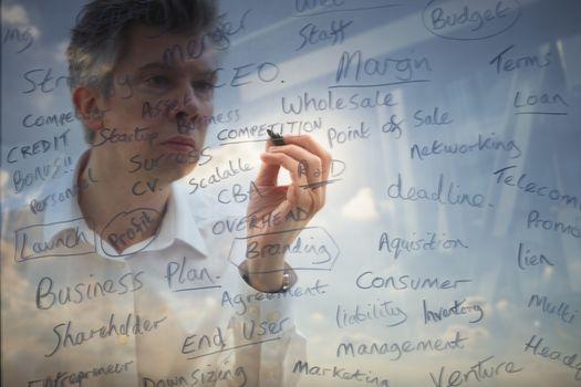 Businessman brainstorming