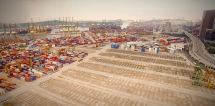 Cargo containers at commercial dock
