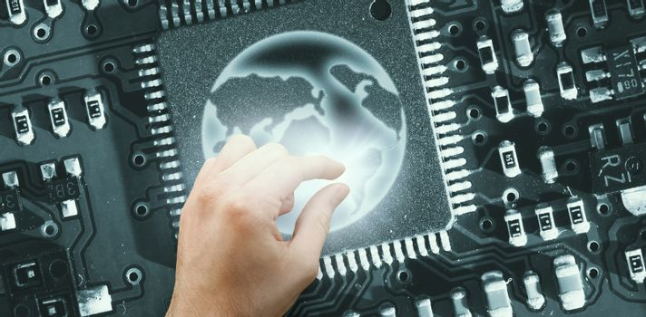 Composite image of hand showing digital component