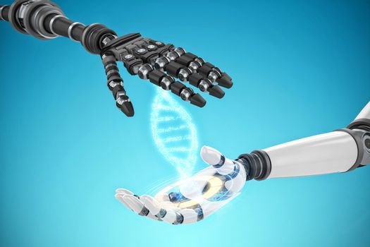Composite image of close up of robotic hand