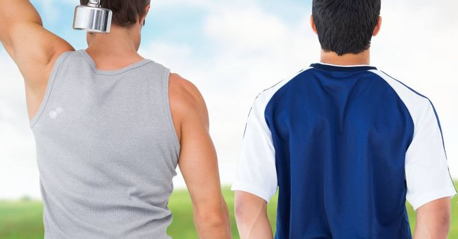 Digital composite of Fitness men back making fitness exercises against countryside background
