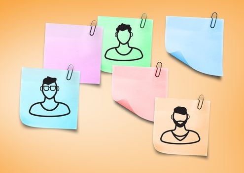 Digital composite of Sticky Note People men icons