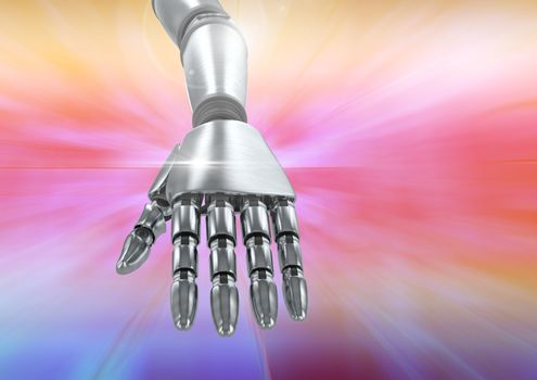 Composite image of robotic hand against a colorful background