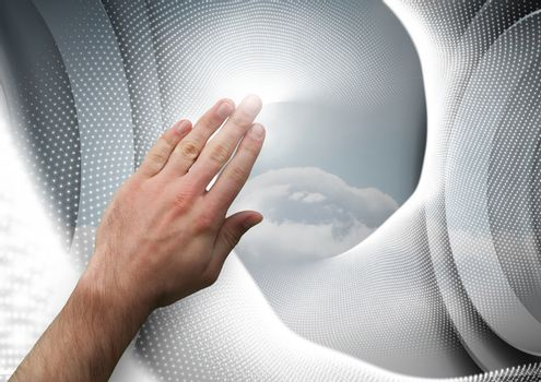 Composite image of Hand touching an interaction agaisnt a grey background
