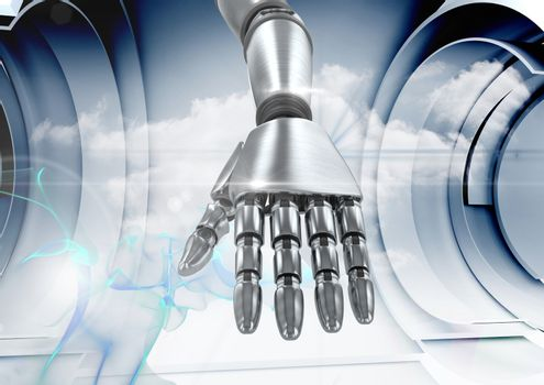Composite Image of a robotic hand against a grey background