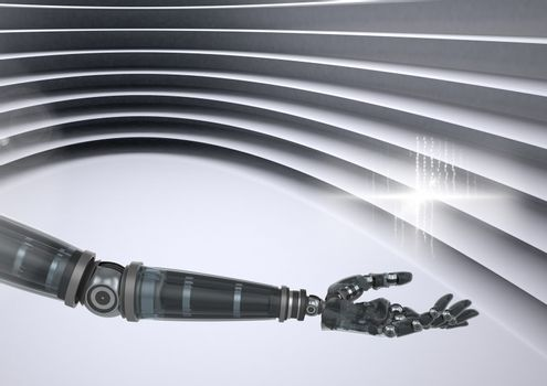 Composite Image of a robotic Arm against a grey background