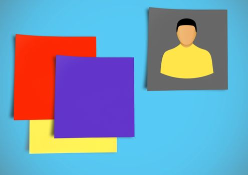 Sticky Note Person Individual icon against blue background