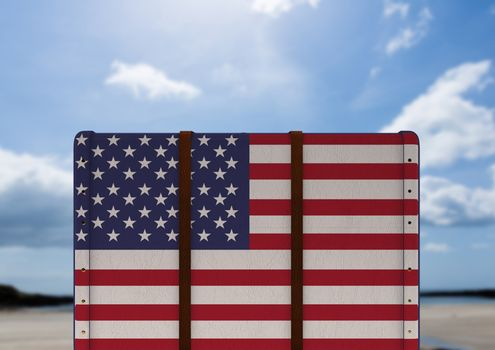 American Flag Luggage against sky background