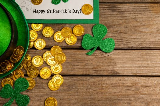 St Patricks Day placard, leprechaun hat with shamrock and gold chocolate coin