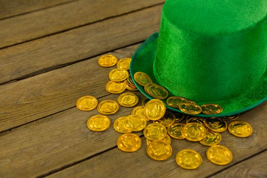 St Patricks Day leprechaun hat with gold chocolate gold coins