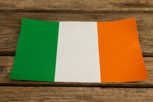 St. Patricks Day close-up of irish flag on wooden background