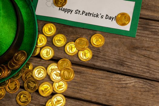 St Patricks Day placard leprechaun hat with gold chocolate coins