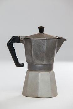 Close-up of metallic coffee maker