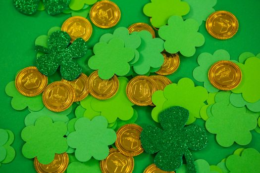 St Patricks Day shamrocks and gold chocolate coin