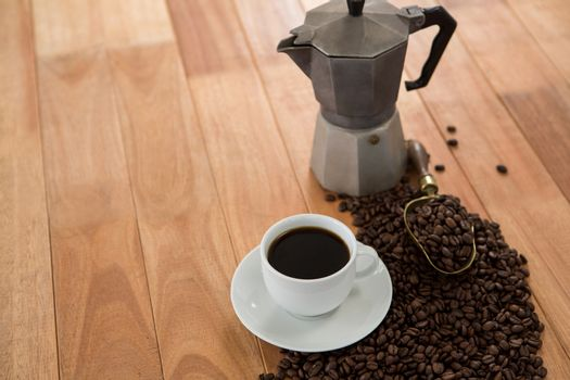 Coffee with coffeemaker and scoop