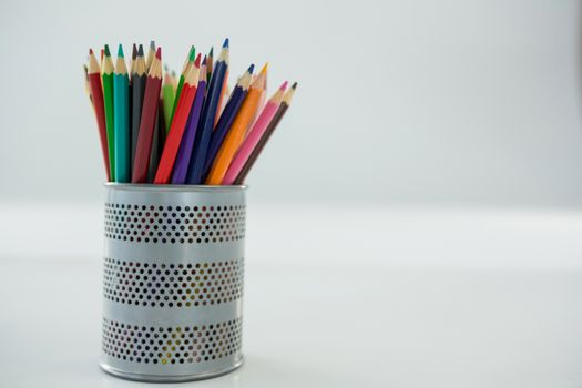 Colored pencils kept in pencil holder