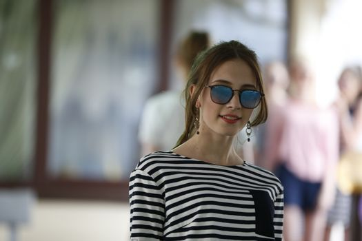 Woman model in sunglasses