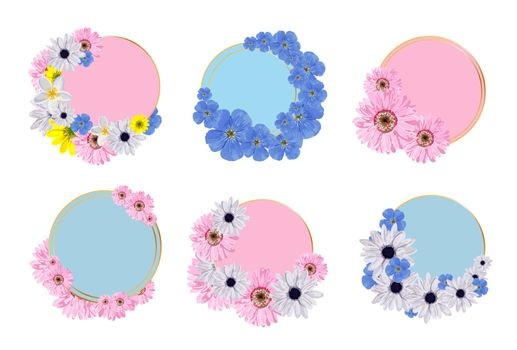 set of spring frames. A collection of wreaths of flowers to insert text. Place for an inscription. Spring colors. sale sticker