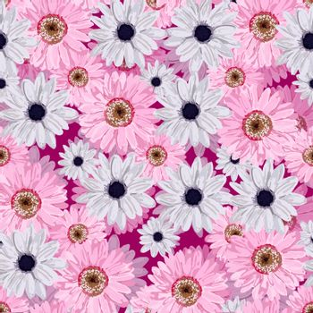 SEAMLESS VECTOR FLOWER PATTERN. Realistic flowers. Spring bright colors.