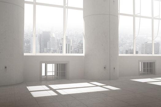 Windows overlooking city