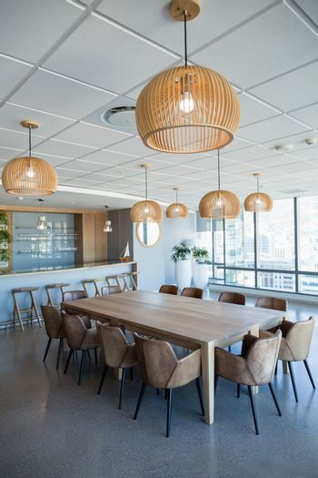 Office cafeteria with table and chairs