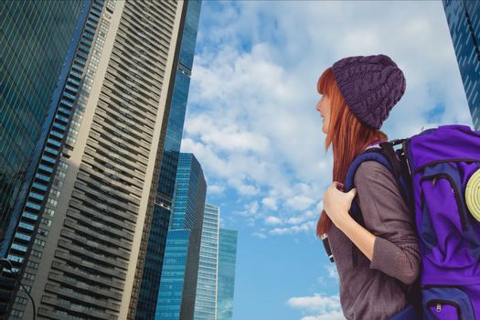 traveler in city