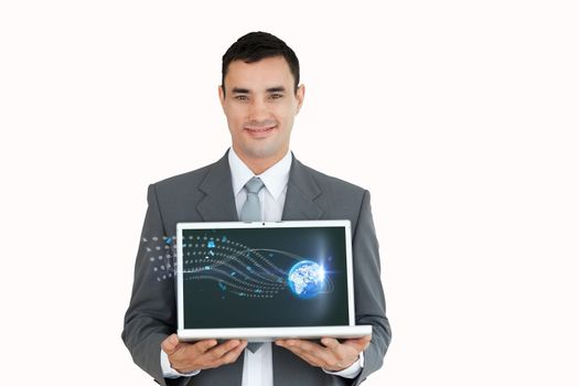 model holding laptop with graphs