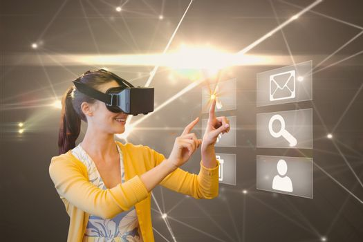 model with VR set