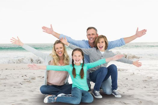 Digital composite of family in beach