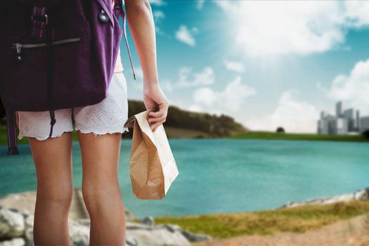 traveler by lake