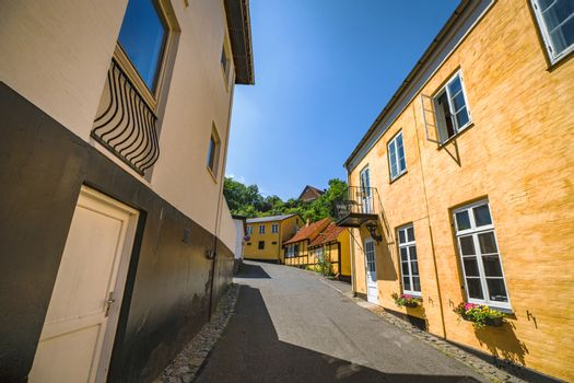 Scandinavian street with colorful buildings