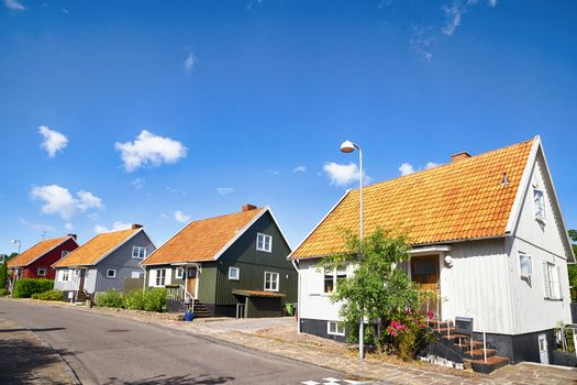 Street with residences on a row