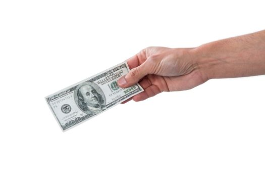 Man holding one hundred dollar